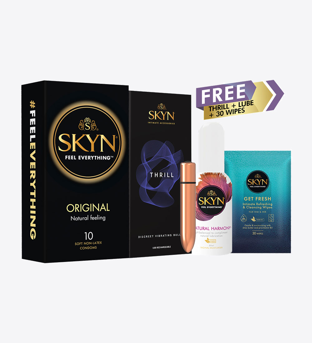 SKYN® Original 10 Pack Non-Latex Condoms & SKYN® Thrill Toy With Free Lube & SKYN® Get Fresh Wipes Pack of 30