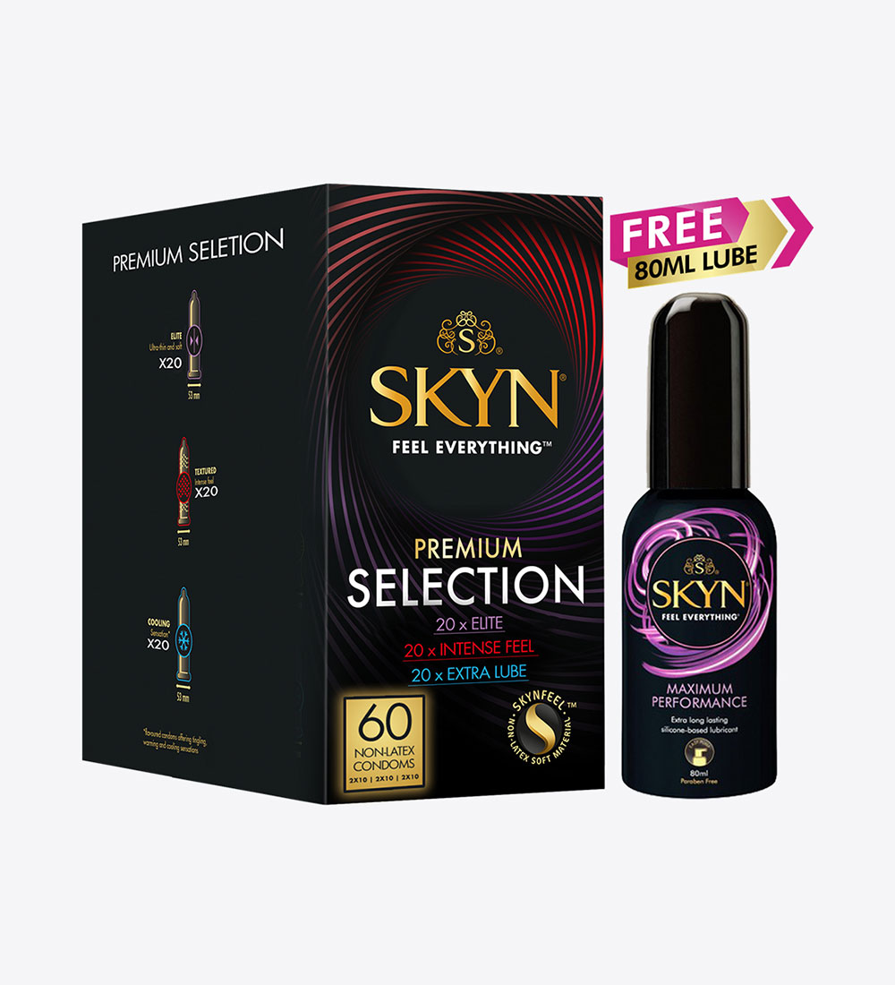 SKYN® Premium Selection Non Latex Condoms & Lube Bundle - Pack of 60 Condoms + 1 SKYN® Max Performance Lube 80ml