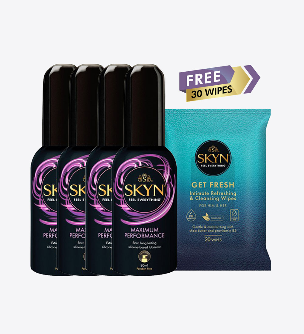 SKYN®Maximum Performance Long Lasting Personal Lubricant Gel 80Ml Pack of 4 + FREE SKYN® Get Fresh Wipes 30 pcs