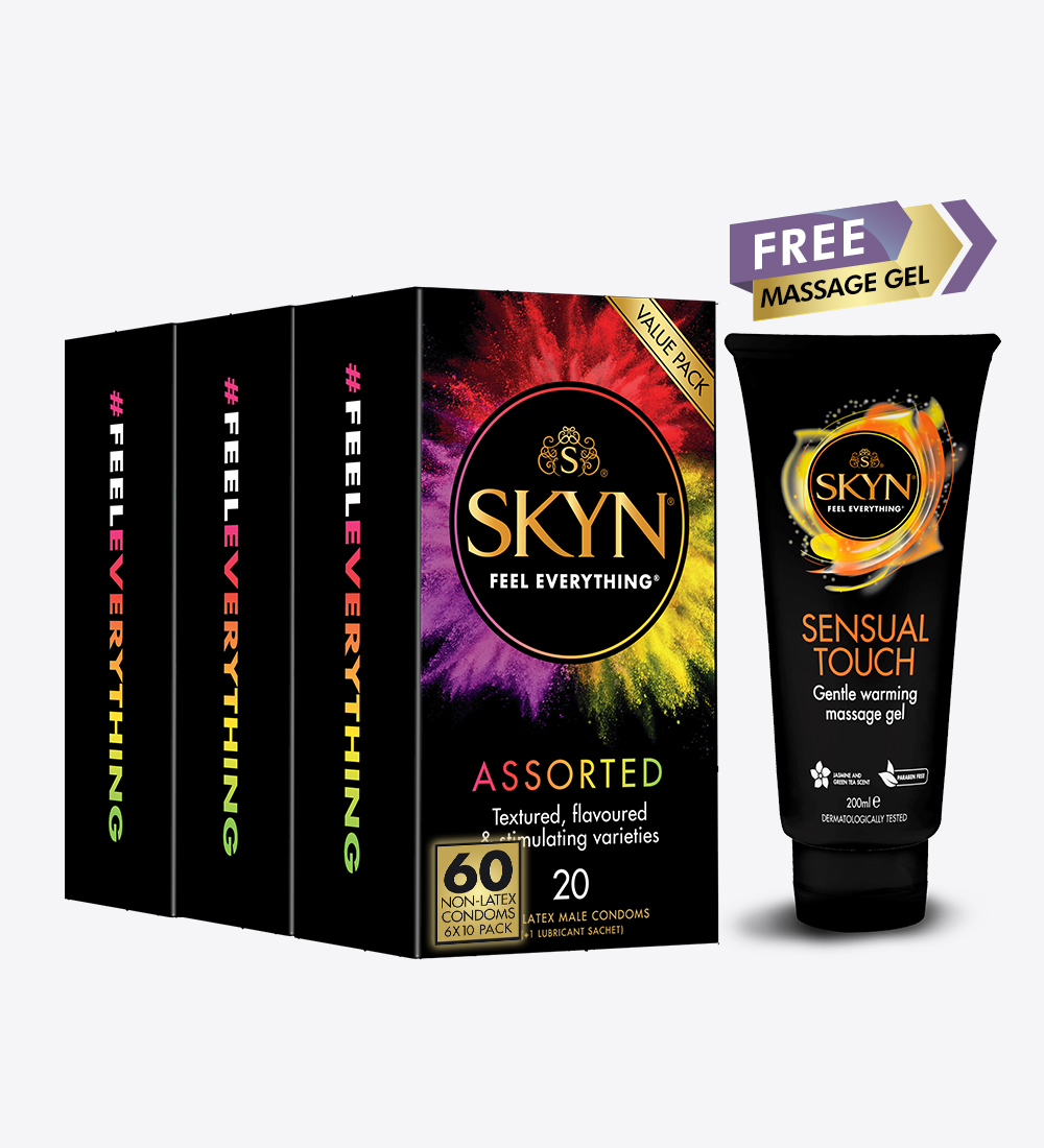 SKYN® Assorted Condoms 60 Pack(3 x 20 Pack (60 condoms)) + Free SKYN® Sensual Touch Massage Gel 100 ML