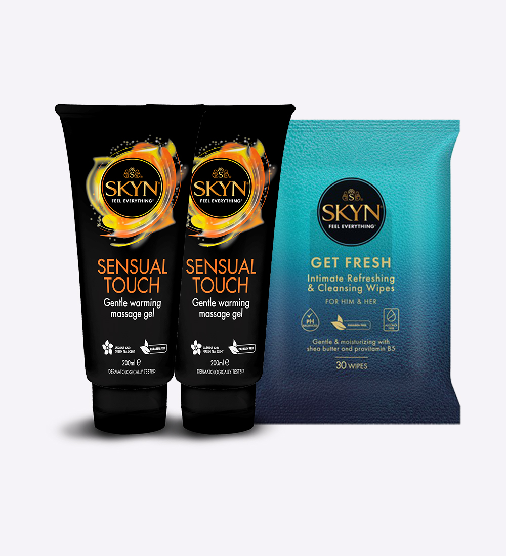 SKYN® Sensual Touch massage gel 100ml - Double Pack(Pack of 2) + Free SKYN® Get Fresh Wipes Pack of 30